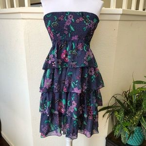 American Eagle Blue floral strapless Dress Size M